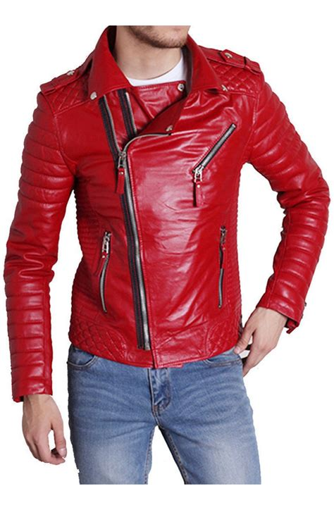 red leather motorcycle jacket men 39 s padded sleeve red leather motorcycle jacket