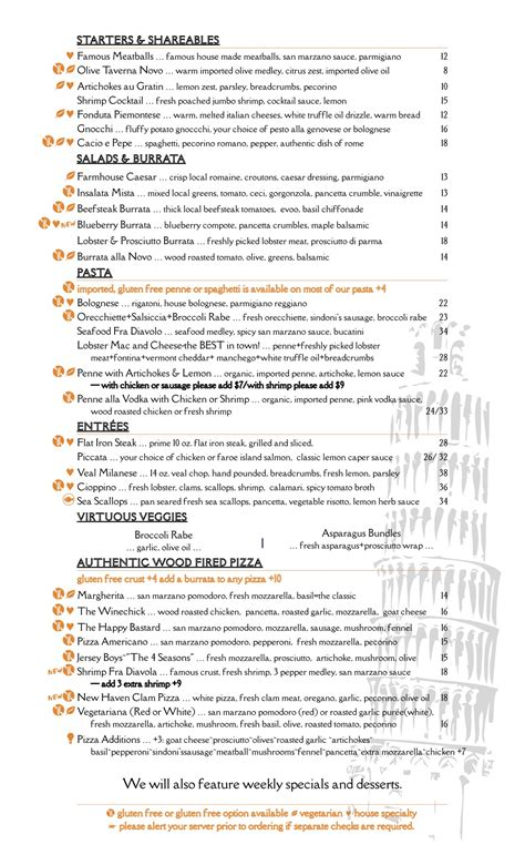taverna novo home saratoga springs  york menu