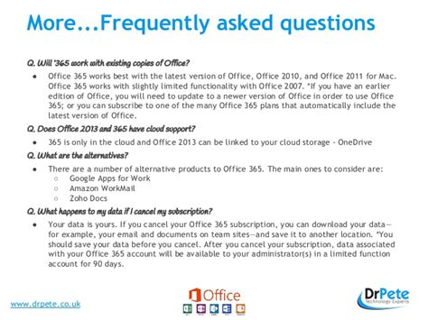 Office 365 Questions by Office 365 Frequently Asked Questions And Presentation