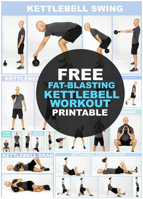 kettlebell workout exercises printable weight loss body routine beginners workouts routines chart fitness kettlebells health fat arm exercise training plan