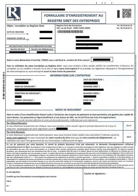 Modification Kbis Auto Entrepreneur by Arnaque Courrier Registre Siret Des Entreprises