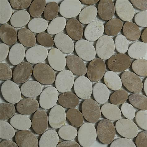 pebble mosaic tile beige brown sliced pebble mosaic