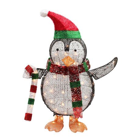 lighted penguin  candy cane christmas yard art
