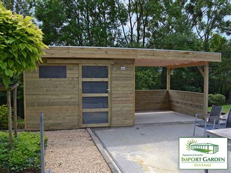 abri de jardin a toit plat avec auvent terrasse id 233 es