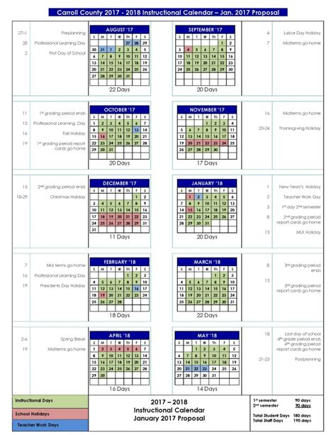 board education review proposed calendars carroll