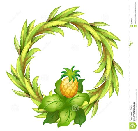 A Green Border With Pineapple Royalty Free Stock Photo