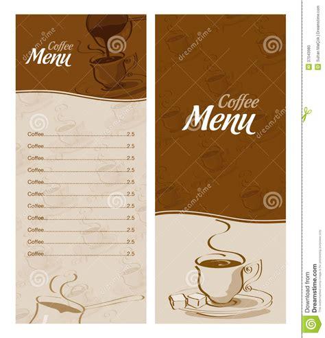 coffee menu card   types  coffee stock photo