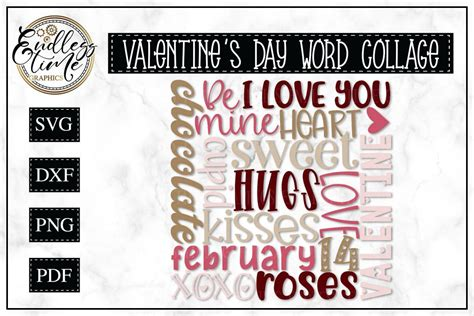Free printable journal pages & planner stickers. Valentine's Day Word Collage -- Subway Art SVG in 2020 ...