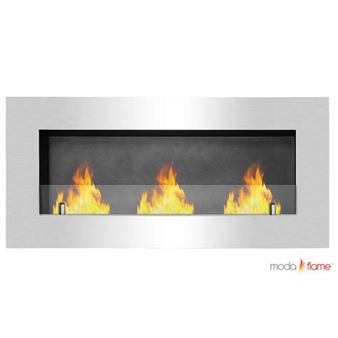 Flames Fireplaces by Moda Flame Hudson Recessed Wall Mounted Ethanol Fireplace