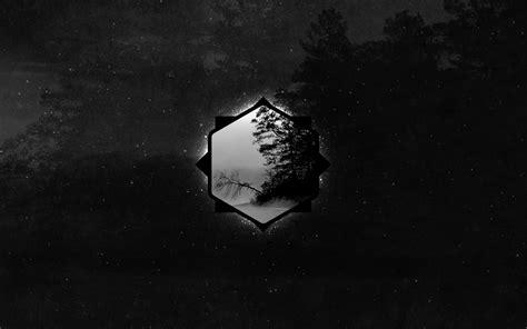 wallpaper geometri gelap hutan satu warna seni
