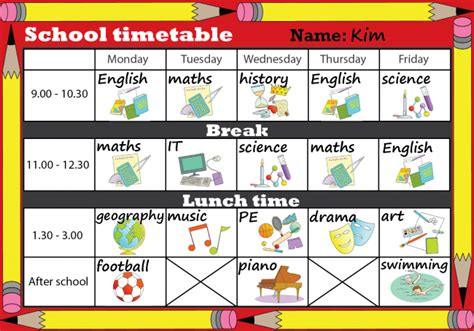 school timetable learnenglish kids british council