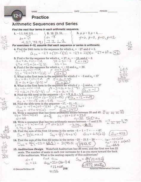 arithmetic sequence worksheet  answers dzofar