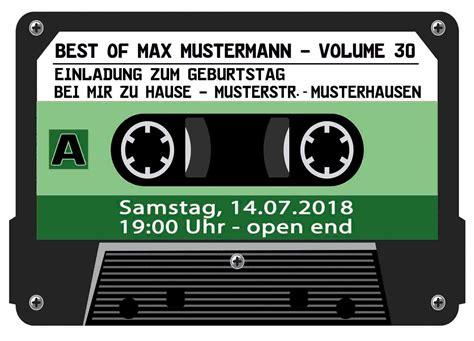 musik kassette  geburtstag lila einladung musik