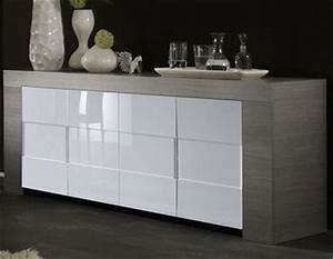 Bahut Bois Blanc : buffet bahut couleur bois gris portes blanc laque moderne esmeralda 2 buffet bahut ~ Teatrodelosmanantiales.com Idées de Décoration