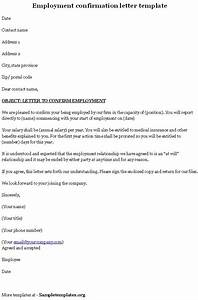 Employment Template for Confirmation Letter, Sample of Employment Confirmation Letter Template