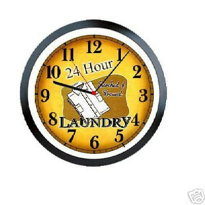 Laundry Room 24 Hour Laundromat Sign Wall Clock #489 Ebay