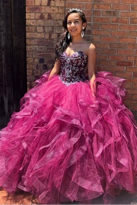 Fuchsia Tulle Quinceanera Ballgown with Rhinestone and ...