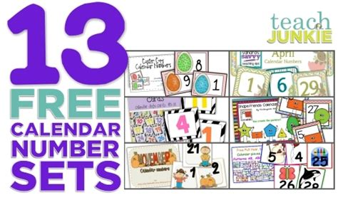 printable calendar numbers   sets teach