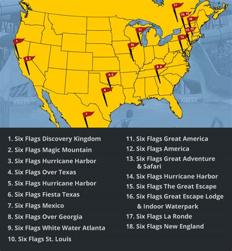 flags six parks glance located sixflags locations map