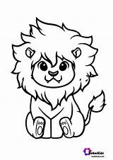 Lion Coloring Cute King Tracing Bubakids sketch template