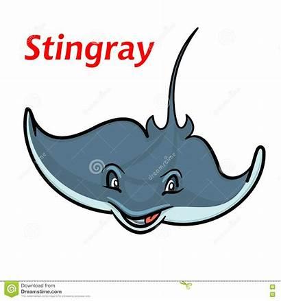 Stingray Cartoon Fish Swimming Deepwater Smiling