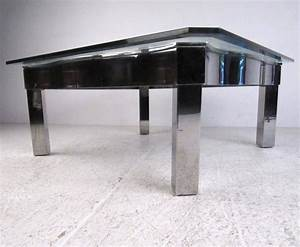 contemporary modern chrome and glass coffee table for sale With modern glass and chrome coffee table