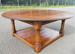 large round oak coffee table sold With huge round coffee table