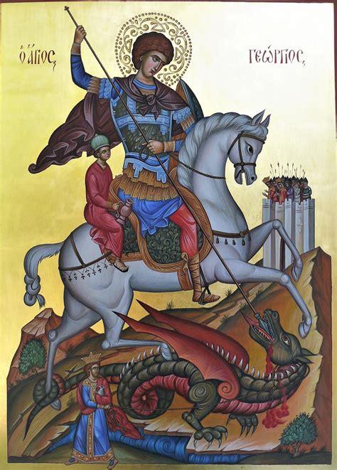 Saint George Slaying the Dragon hand-painted orthodox icon ...