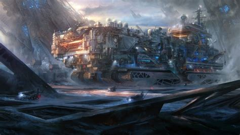 wallpaper giant vehicle sci fi futuristic planet