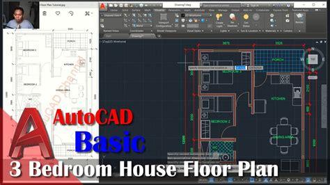 autocad  bedroom house floor plan tutorial youtube