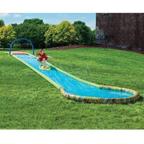 Best Backyard Water Slides the only surfing water slide hammacher schlemmer
