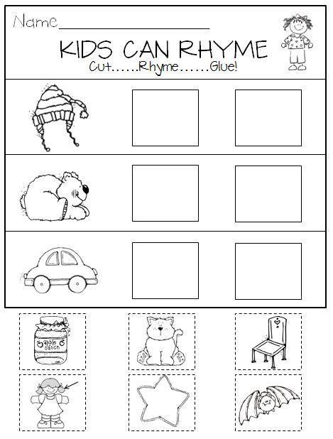 rhyming in kindergarten printables and center activities