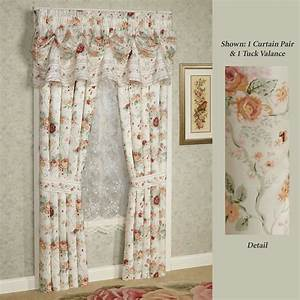 English rose floral window treatment for English floral curtains
