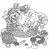 Cat Uncolored Vector Yarn Needlework Playing Kitten Doodle Items Coloring Illustration Drawn Hand Colourbox Clipart Supplier Cards sketch template