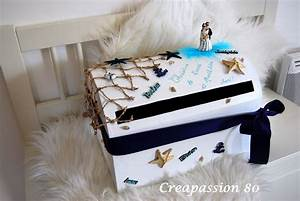 Mariage Theme Mer : urne de mariage th me de la mer bleur marine turquoise et blanc bo tes coffrets par ~ Nature-et-papiers.com Idées de Décoration