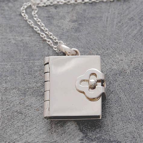 book silver locket necklace  otis jaxon