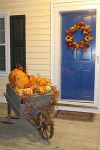 Fall, Porch, Wheelbarrow, Decoration, With, Images