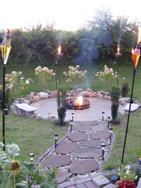 perfect torches  flagstone walkway  inexpensive