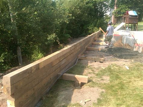 backfilling retaining wall pool build 2010 new timber retaining wall and backfill