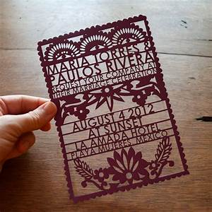 papel picado wedding invitations from avie designs With laser cut mexican wedding invitations