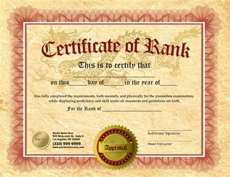 Martial Arts Certificate Template by Rank Certificate 8 5 X 11 Ma010501