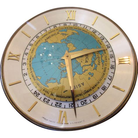 world time zone desk clock rare vintage imhof worldtime desk clock from exclusive