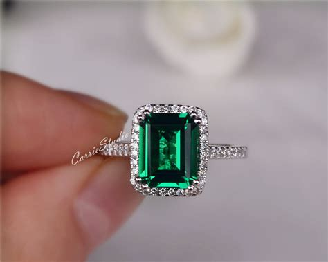 Gorgeous Emerald Engagement Ring Lab Emerald Ring Wedding Ring