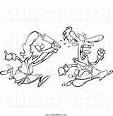Woman Chasing Rolling Husband Cartoon Coloring Clip Angry Outlined Toonaday sketch template