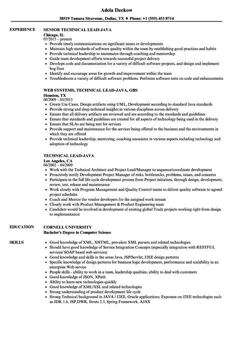 Sle Resume For Technical Lead by Technical Lead Java Resume Sles Velvet