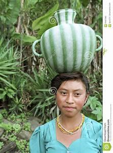 Portrait Of Water Drinking Guatemalan Girl Editorial Photo