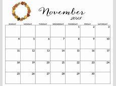Template of November 2018 Calendar A4 Free December 2018