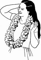 Lei Clipart Hawaiian Drawing Luau Transparent Garland Wearing Line Cliparts Woman Webstockreview Flowers Getdrawings Clothes Accessories Gclipart Formats sketch template