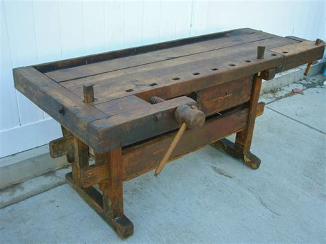 * Fabulous Antique Wooden Carpenters Workbench With Vises And A Drawer Antique Furniture Hardware Bail Pulls Boat Parts Wood Planks For Sale Stores In Paris Doll Display Case Antiques Michigan Midget Race Cars