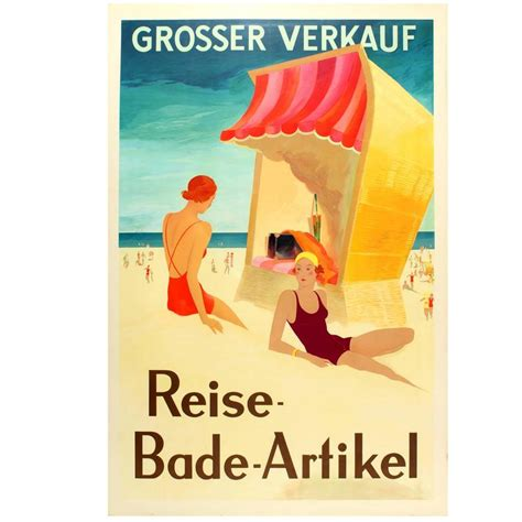 original deco poster for a big sale of travel and swimming accessories for sale at